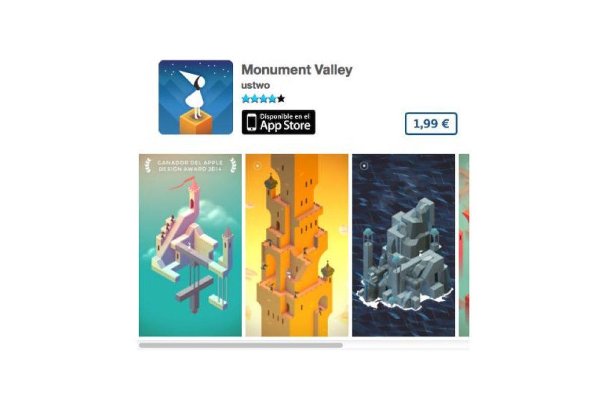 Monument Valley es un juego de diseño que ganó el premio Apple Design 2014. Precio tres dólares Foto:De ustwo™. Imagen Por: