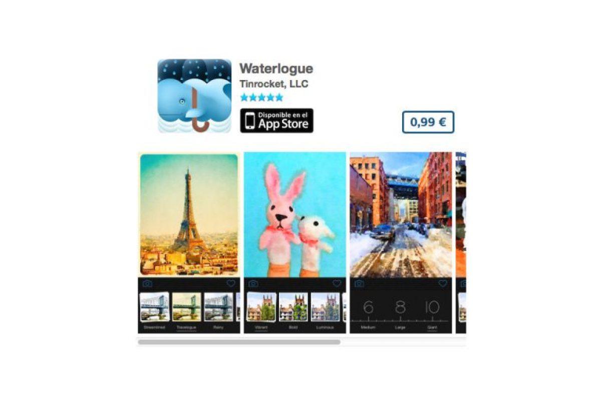 Waterlogue convertirá sus fotos en una pintura al óleo. Precio 1 dólar Foto:De Tinrocket, LLC. Imagen Por: