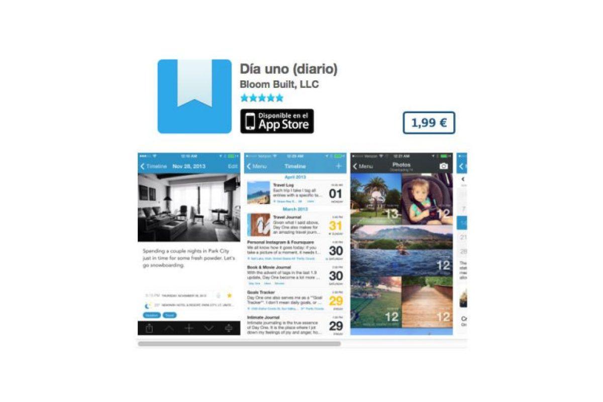 Día uno (diario) es la app con la que guardarán lo mejor de sus días en su dispositivo. Precio tres dólares Foto:De Bloom Built, LLC. Imagen Por: