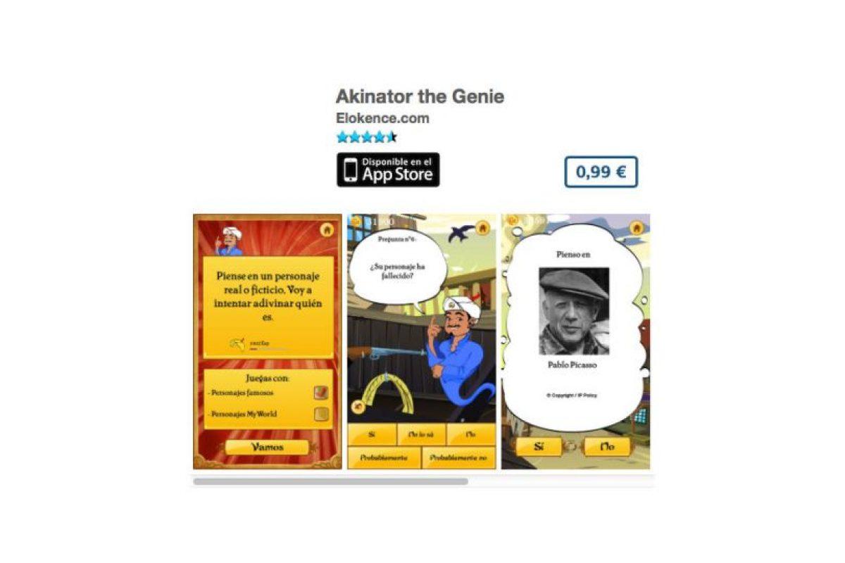Akinator the Genie es la app que puede leer la mente y saber que personaje están pensando. Precio 1 dólar Foto:De Elokence. Imagen Por: