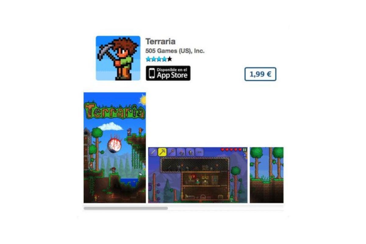 """Terraria es el típico juego de """"Atari"""" para celular. Precio tres dólares Foto:De 505 Games (US), Inc.. Imagen Por:"""