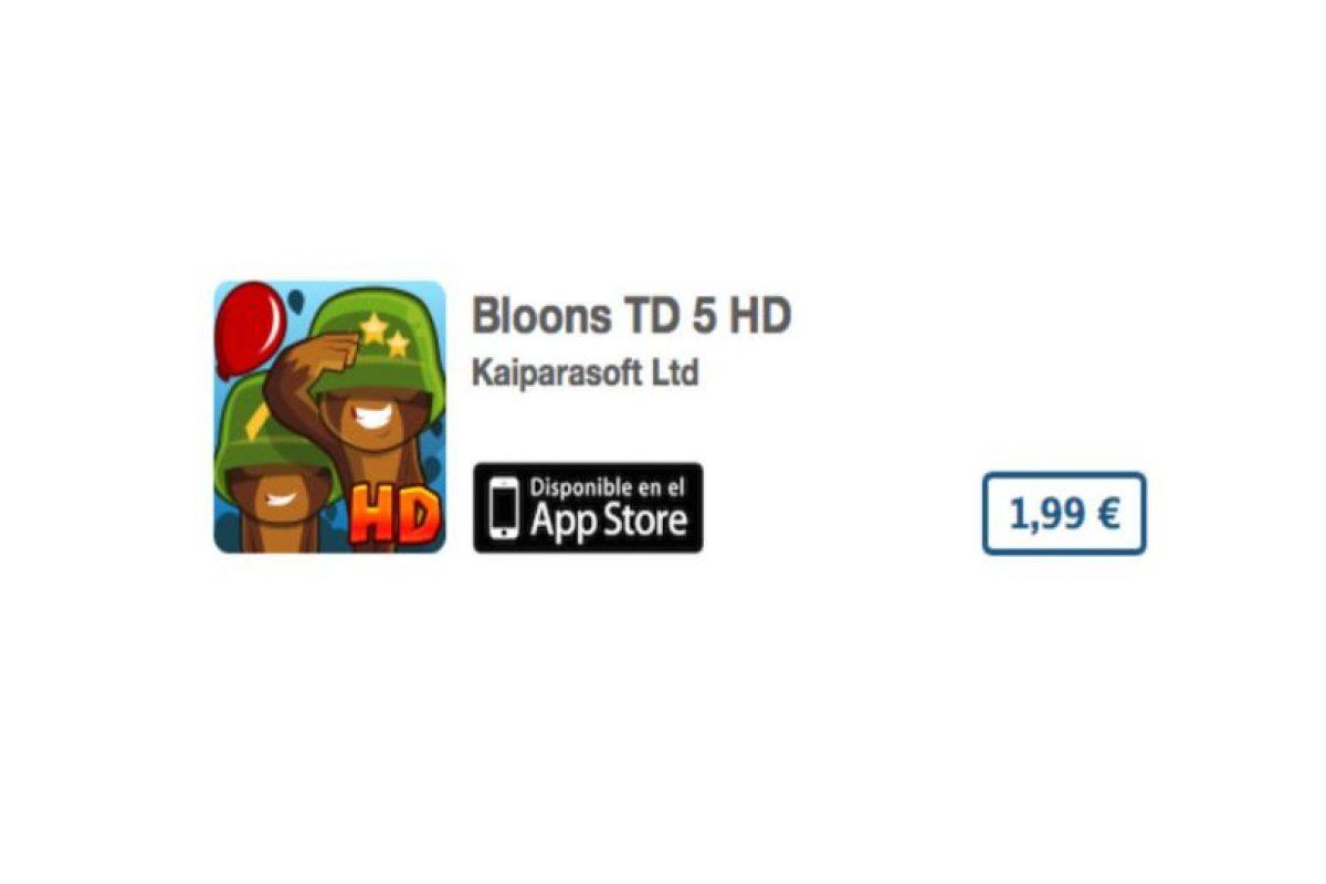Bloons TD 5 HD es un puzzle divertido y en HD. Precio tres dólares Foto:De Ninja Kiwi. Imagen Por: