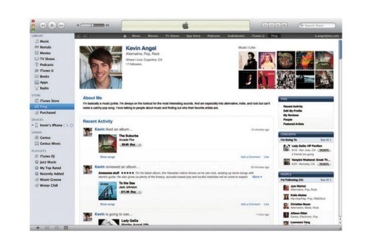 """Consistía en un servicio de recomendación de artistas paralelo a Twitter y Facebook en iTunes. Pero fue un fracaso debido al inmenso """"spam"""" que se filtró. Murió en 2012 cuando se sustituyó con la integración de redes sociales Foto:Apple. Imagen Por:"""