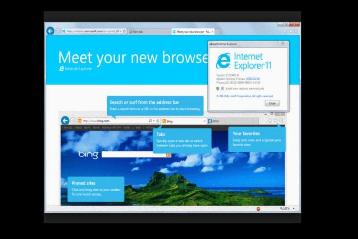 Internet Explorer 11.0 (2013) Foto:Microsoft. Imagen Por: