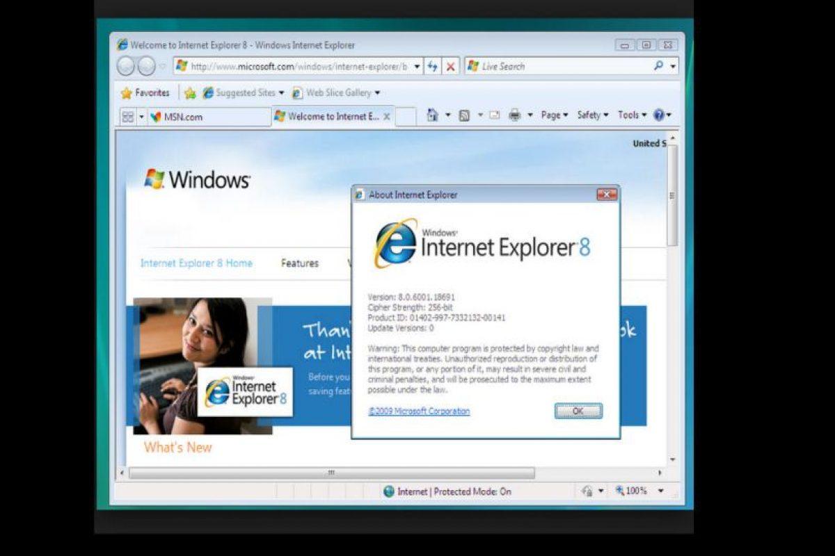 Internet Explorer 8.0 (2009) Foto:Microsoft. Imagen Por: