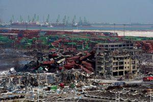 Lugar de la explosión en Tianjin, China. Foto:AFP. Imagen Por:
