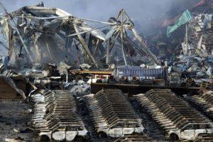 Una gran cantidad de autos quedó destruida. Foto:AP. Imagen Por: