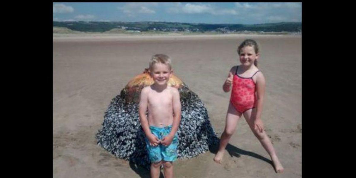 Niños jugaron con una bomba gigante creyendo que era una boya