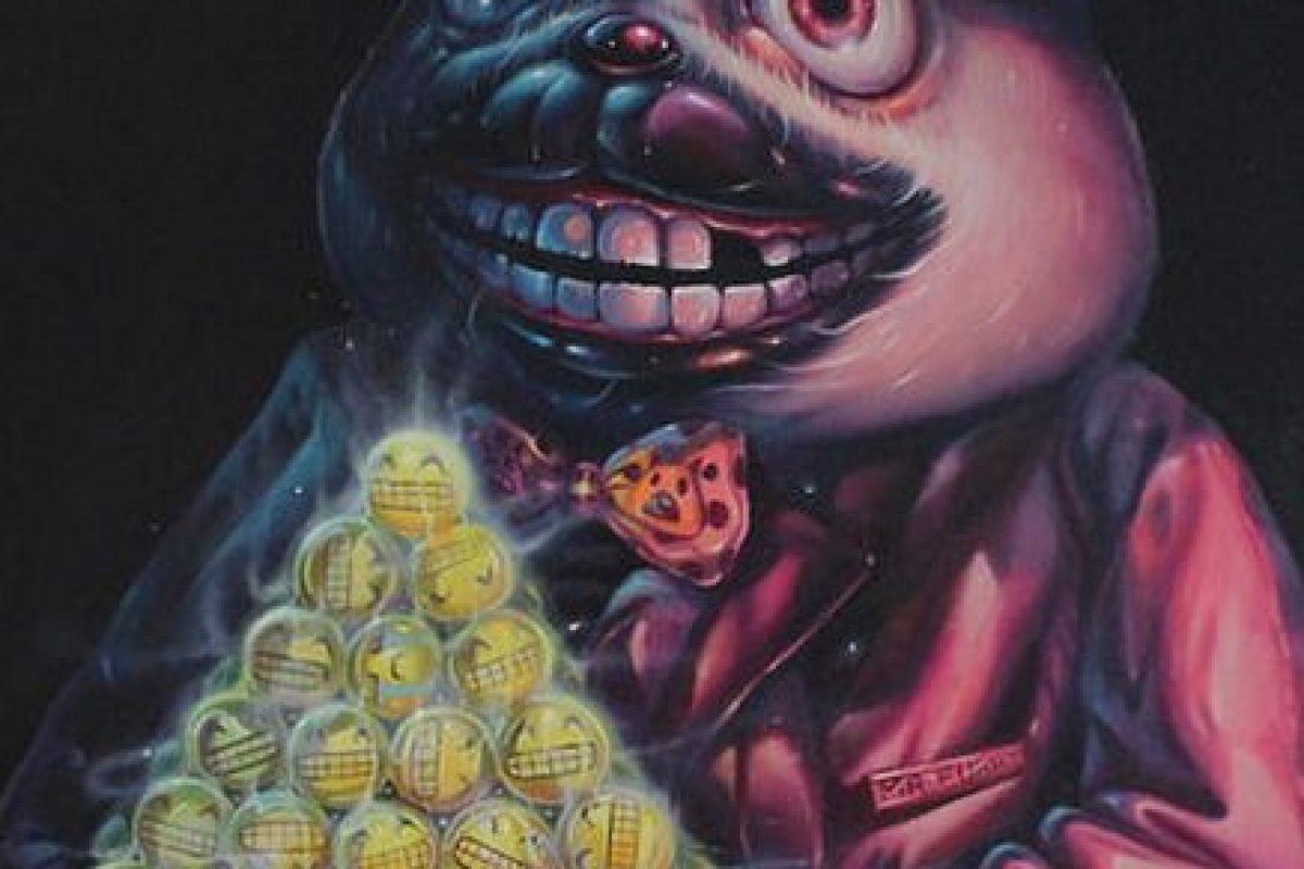 """Would You Like A Smile For Dessert"" (2015) de Aof Smith. Cuesta dos mil 800 dólares. Foto:Arch Enemy Arts. Imagen Por:"