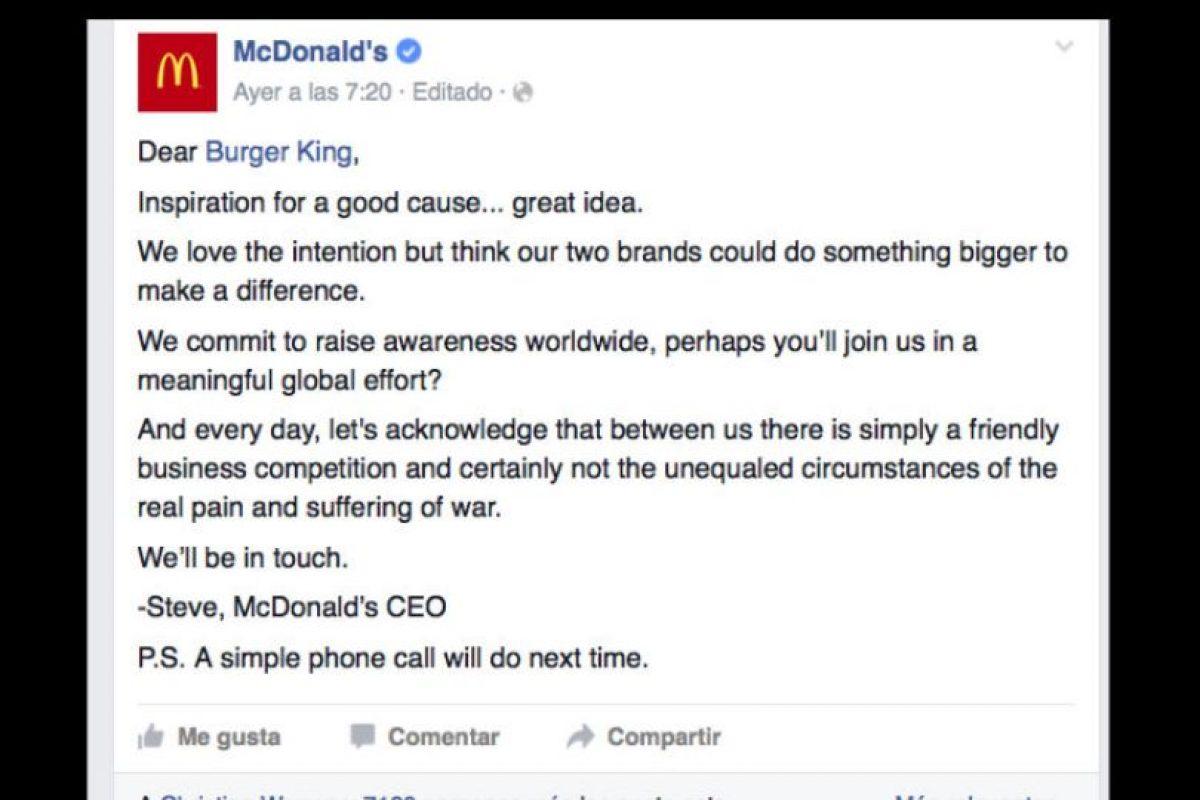 El texto original de parte de McDonald's Foto:Vía facebook.com/McDonalds. Imagen Por: