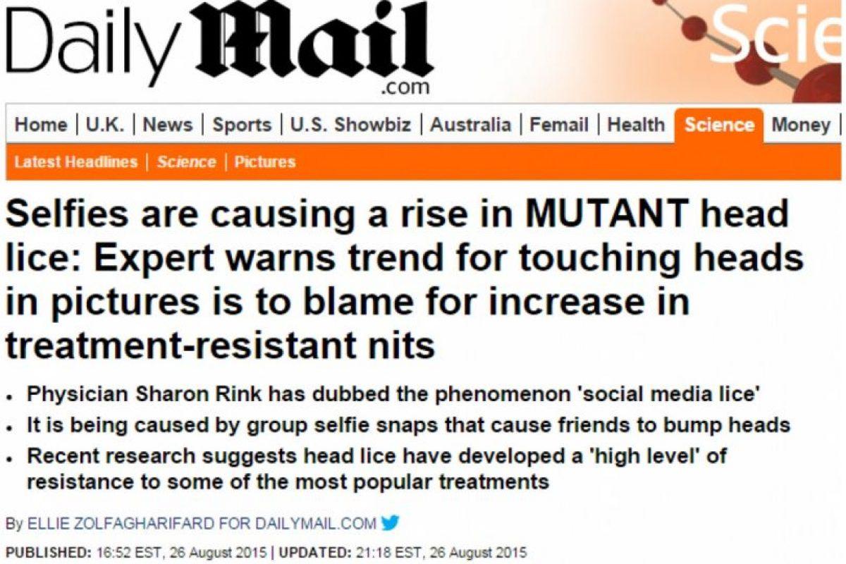 2. Selfies realmente no están causando un brote de piojos en Inglaterra. Foto:Vïa Daily Mail. Imagen Por: