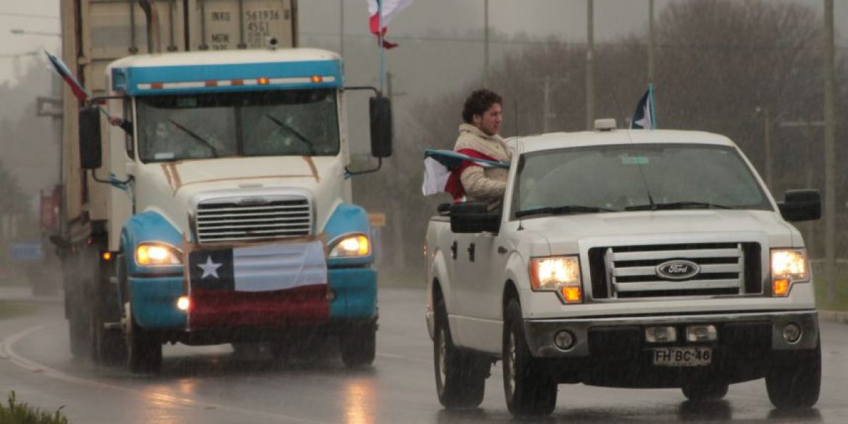 """Así fue el """"heroico"""" regreso a Temuco de los camioneros que visitaron La Moneda"""