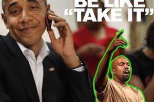 """¿Y cómo reaccionarían Los Obama? Bueno, pues el actual mandatario le diría """"Tómalo"""" Foto:Instagram.com/explore/tags/kanyewest. Imagen Por:"""