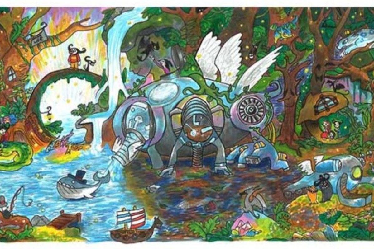 """Back to Mother Nature"" fue el vencedor del concurso ""Doodle 4 Google"". Foto:Google. Imagen Por:"