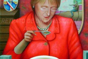 Presidenta comiendo cazuelaSe trata de una visión artística y simbólica donde la imagen de la primera mujer presidenta de Chile es el referente para tocar temas sociales y culturales. Foto:Gentileza Andrés Ovalle. Imagen Por: