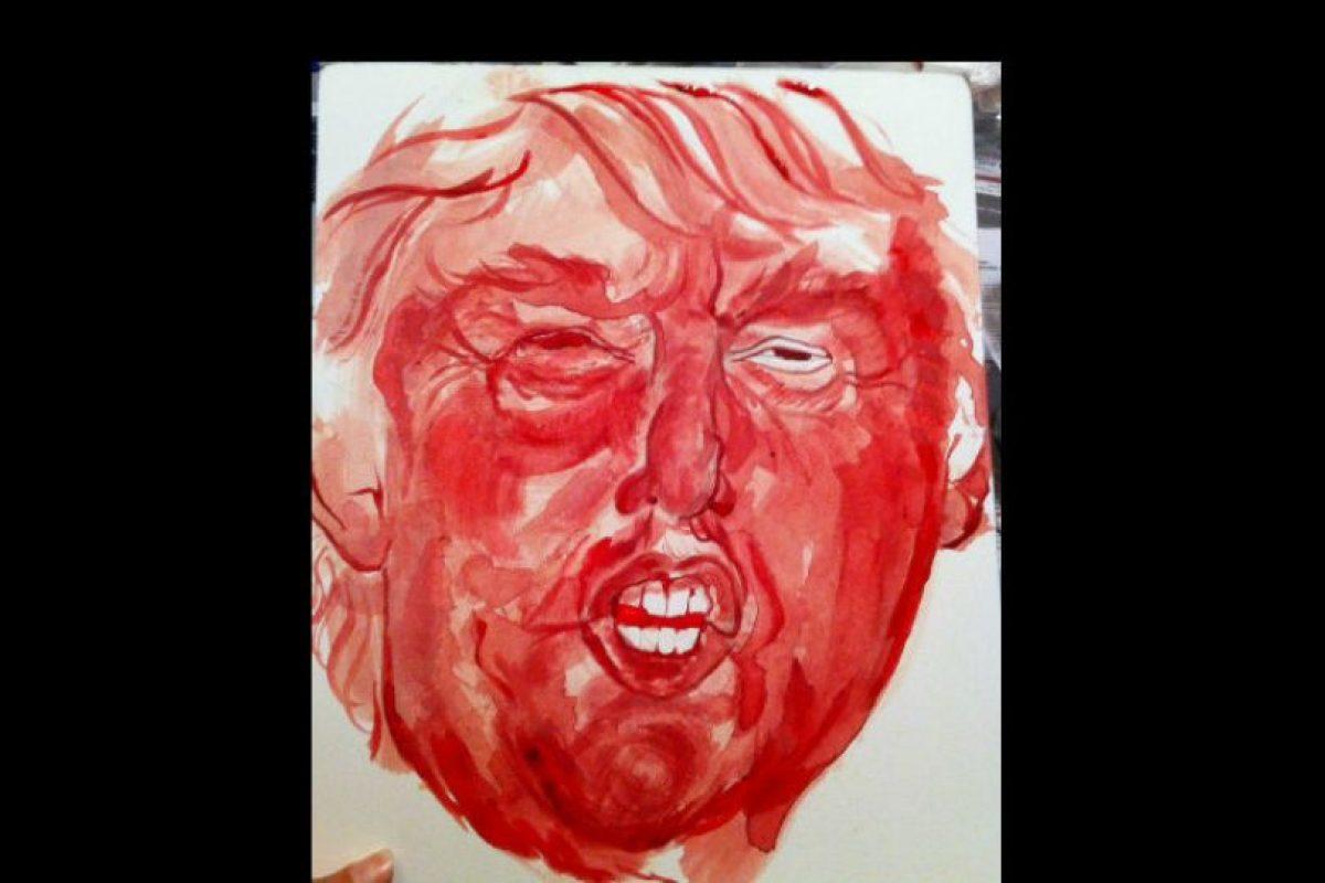 Sarah Levy decidió hacer este retrato con la intención de manifestarse ante los comentarios contra inmigrantes ilegales del precandidato Donald Trump. Foto:Vía sarahlevyart.wordpress.com. Imagen Por: