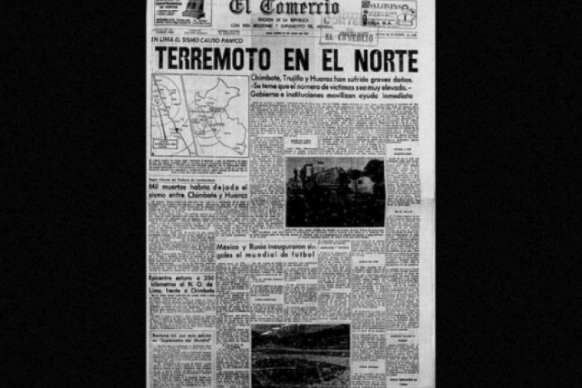 3. 31 de mayo de 1970, Chimbote, Perú: Desapareció por completo la comunidad de Yungay, cuya población era de 20 mil habitantes Foto:Arkivperu.com. Imagen Por: