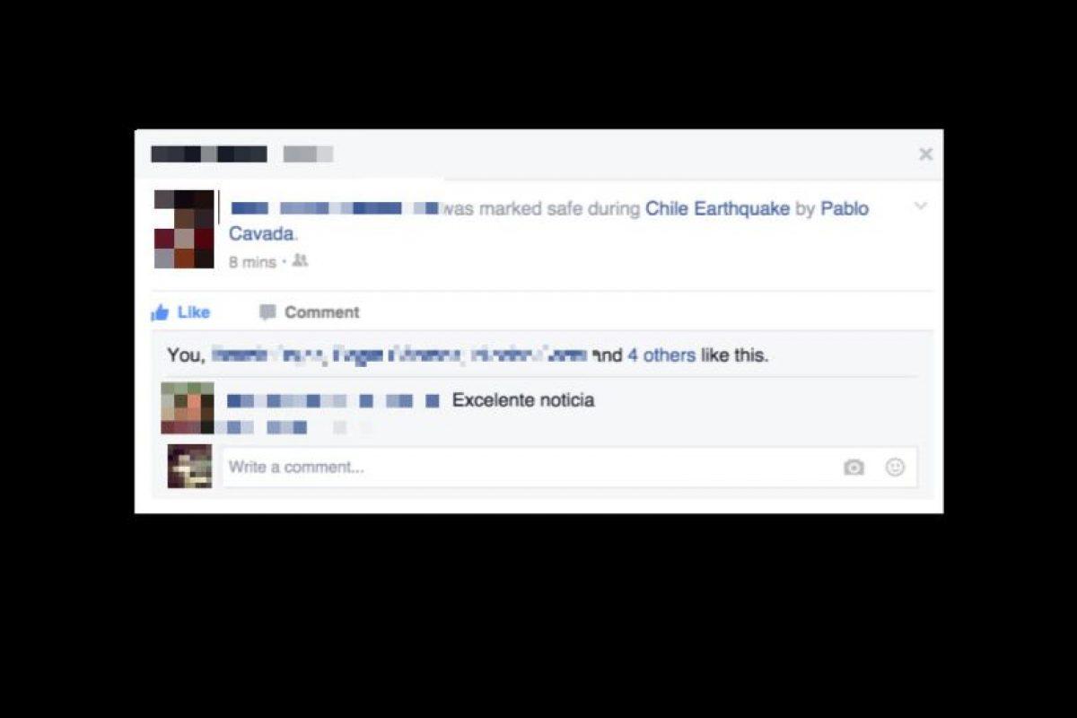Después se publica automáticamente un estado en el perfil de la persona localizada Foto:Facebook. Imagen Por: