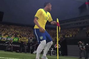 El futbolista brasileño celebra golpeando el banderín de tiro de esquina. Foto:Konami. Imagen Por: