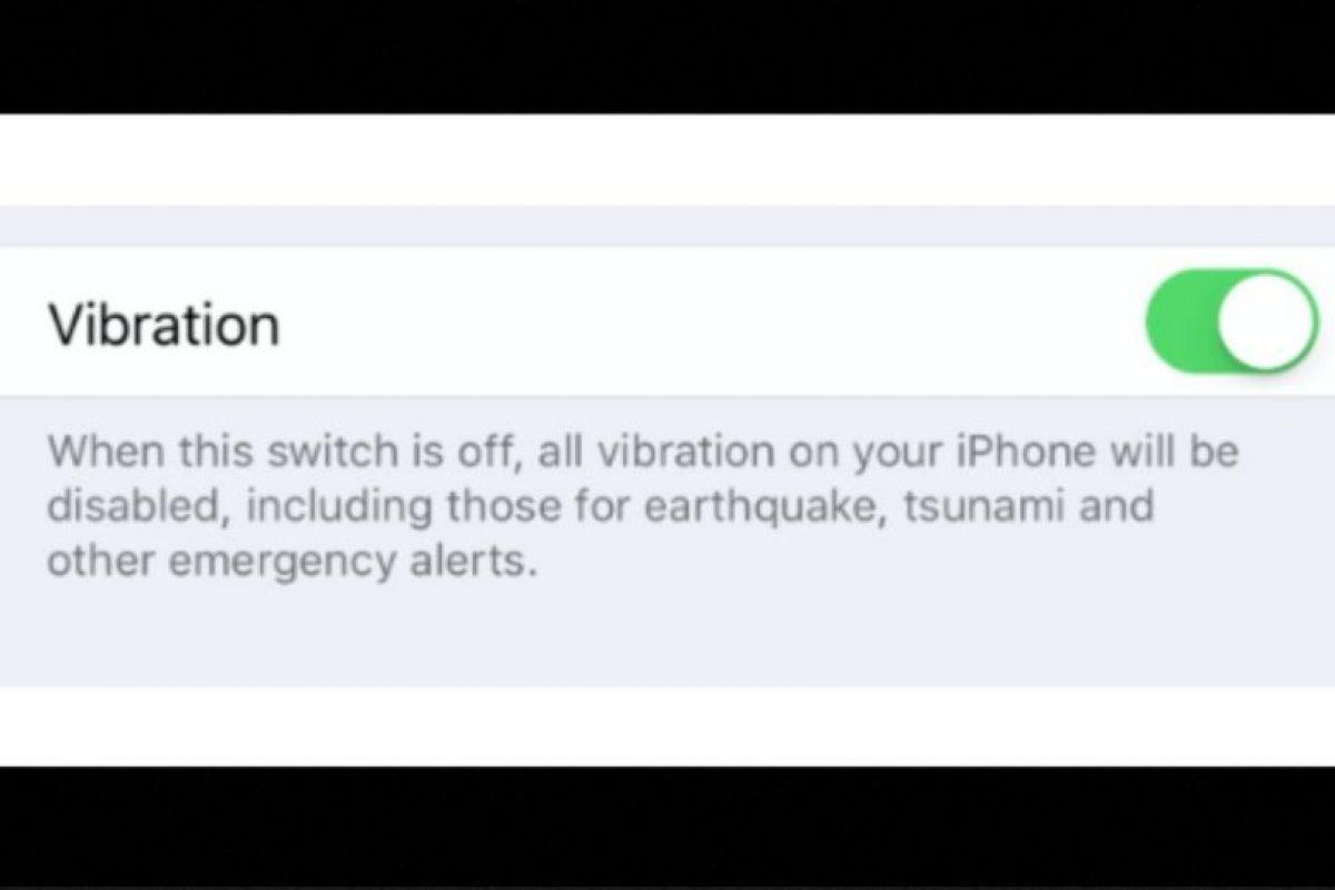 iOS 9 permite deshabilitar las vibraciones, incluyendo las alertas de emergencia y aplicaciones internas. Foto:Apple. Imagen Por: