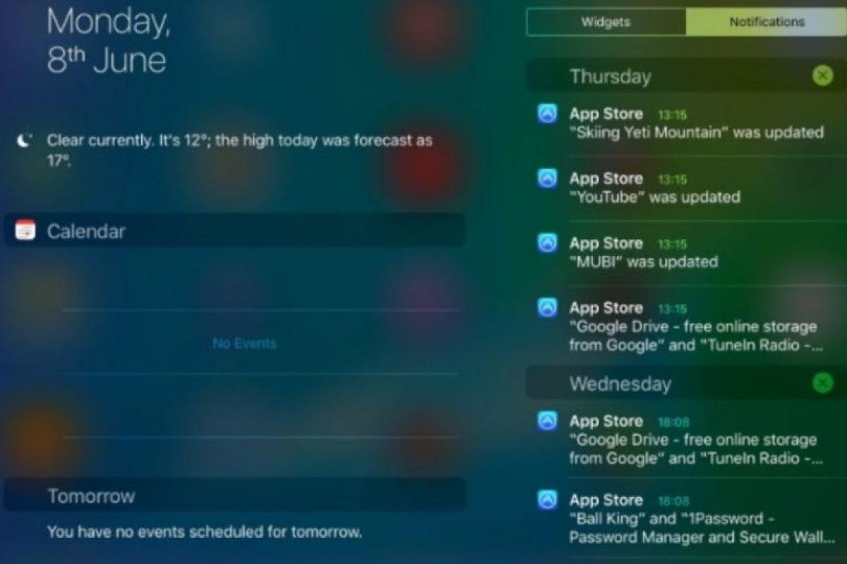 La vista horizontal para los usuarios del iPad en la que podrán revisar correo y otras app desde cualquier pantalla. Foto:Apple. Imagen Por:
