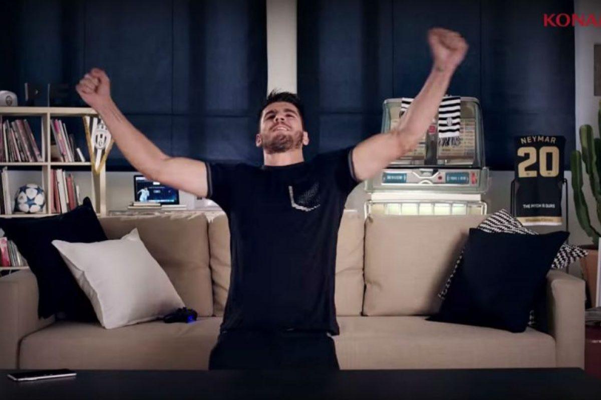 """El español Álvaro Morata en el tráiler de lanzamiento del """"PES 2016"""". Foto:Konami. Imagen Por:"""
