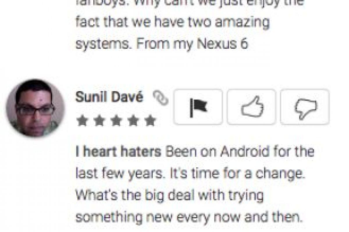 Jaymin Ligsay opina que Android es para jóvenes fanáticos inmaduros, mientras que Sunil Davé piensa que no hay razón por la cual cambiar de Android a iPhone Foto:Google Play. Imagen Por: