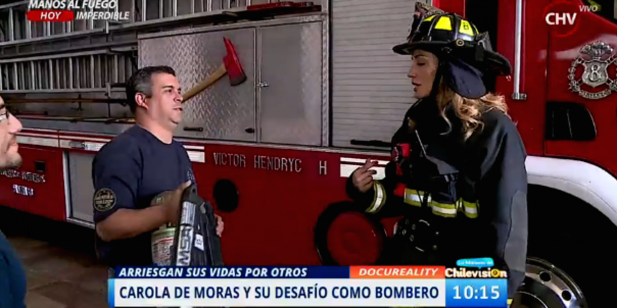 Carola de Moras sorprendió a los bomberos con visita