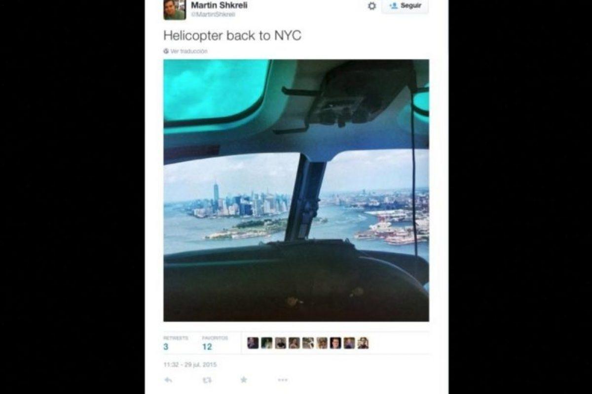 """De regreso en helicóptero"" Foto:Twitter.com/MartinShkreli. Imagen Por:"