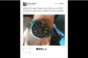 """Se vende reloj"" Foto:Twitter.com/MartinShkreli. Imagen Por:"