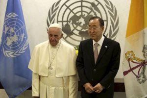 Francisco se reunió con Ban Ki-moon, secretario general de Naciones Unidas Foto:AFP. Imagen Por: