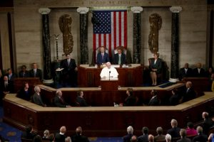 Donde el Papa tuvo la oportunidad de hablar frente al Congreso Foto:AP. Imagen Por: