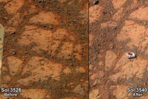 """Antes y después. El antes y el después de la roca """"donut de mermelada"""". Foto:Foto reproducida. Imagen Por:"""