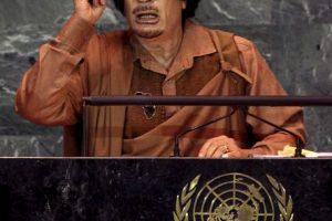 """Según narró Ban Ki-moon, Gadafi decidió hablar """"indefinidamente"""" y fue interrumpido a los 100 minutos, cuando su traductor se desvaneció de cansancio. Foto:Getty Images. Imagen Por:"""