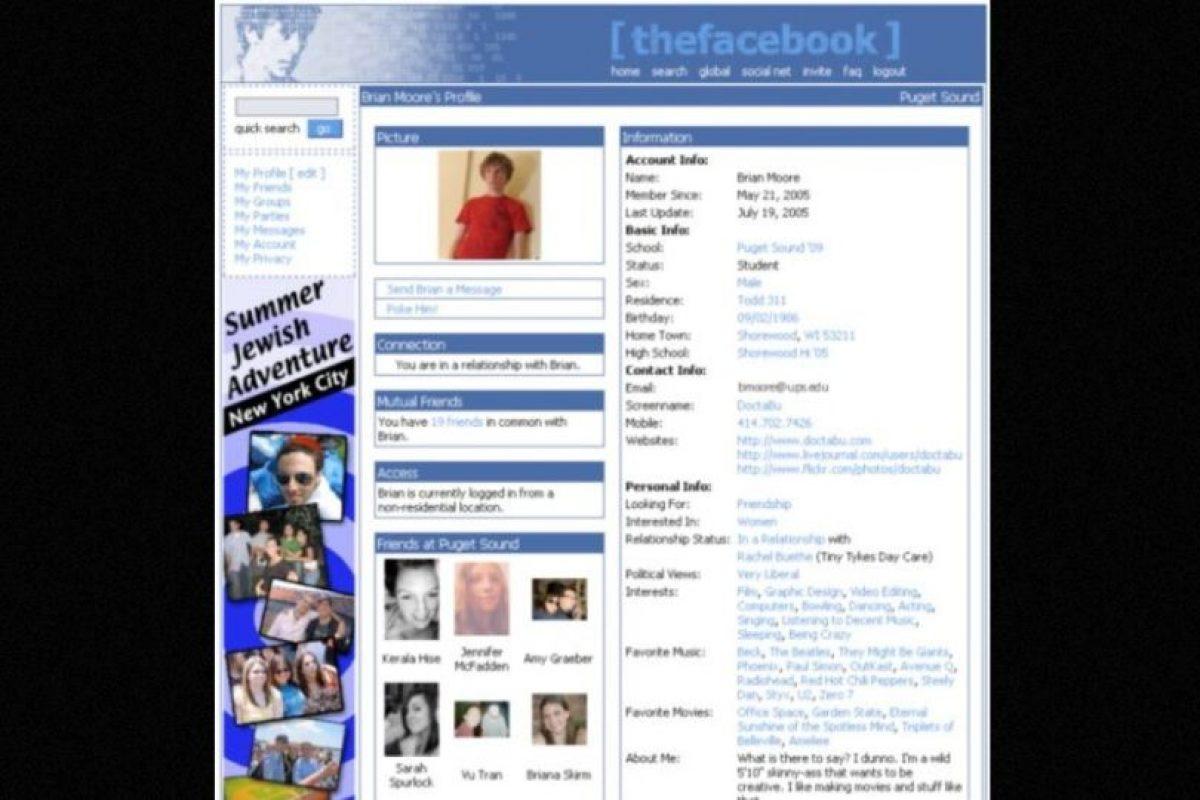 2005. Las comparaciones con MySpace no se hicieron esperar. Foto:Facebook. Imagen Por: