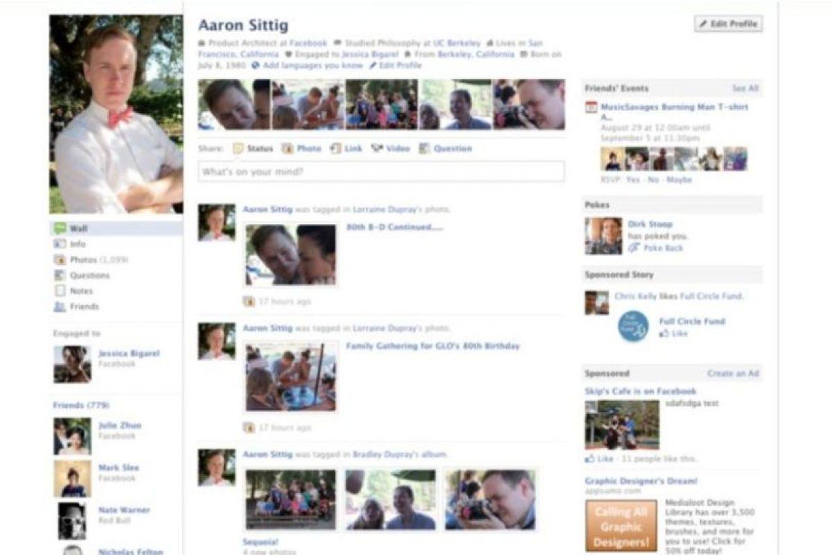 2010. Comienza la estilización del perfil y a lucir de mejor manera. Foto:Facebook. Imagen Por: