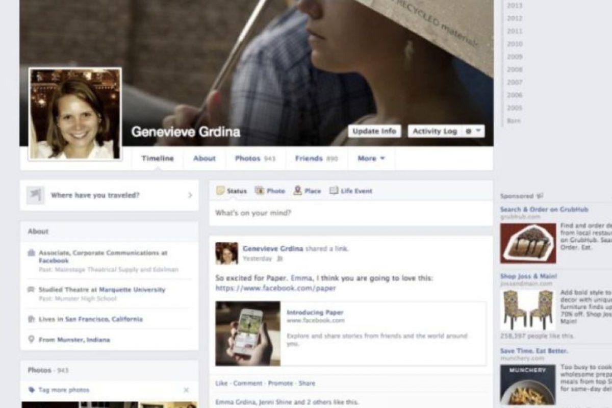 """2013-2014. Facebook introduce una aplicación llamada """"Paper"""" y se los colores se vuelven más sutiles. Foto:Facebook. Imagen Por:"""