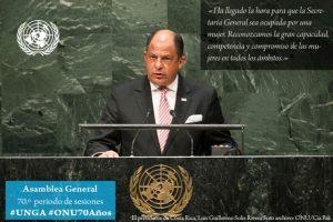 Luis Guillermo Solís, presidente de Costa Rica Foto:Twitter.com/ONU_es. Imagen Por: