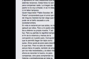 De hecho, acá explica que no justifica los crímenes de su padre. Foto:vía Facebook/Sebastián Marroquín. Imagen Por: