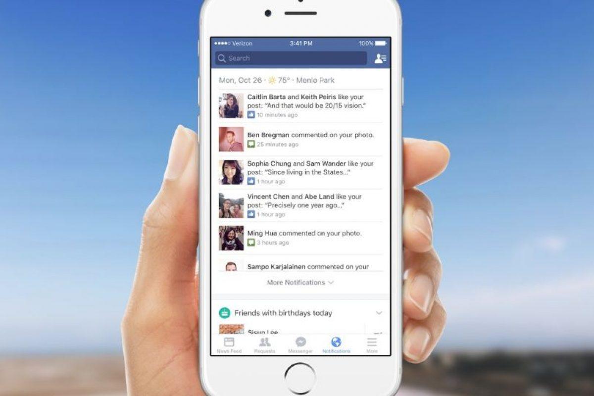 El menú de notificaciones tiene nuevas opciones. Foto:Facebook. Imagen Por: