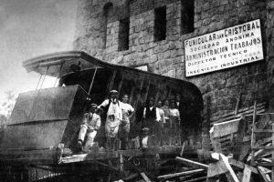 Funicular del cerro San Cristobal en construcción, Santiago en 1924. Foto:Fotos Históricas de Chile. Imagen Por: