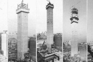 Construcción de la Torre Entel de Santiago desde 1970 hasta 1974. Foto:Fotos Históricas de Chile. Imagen Por: