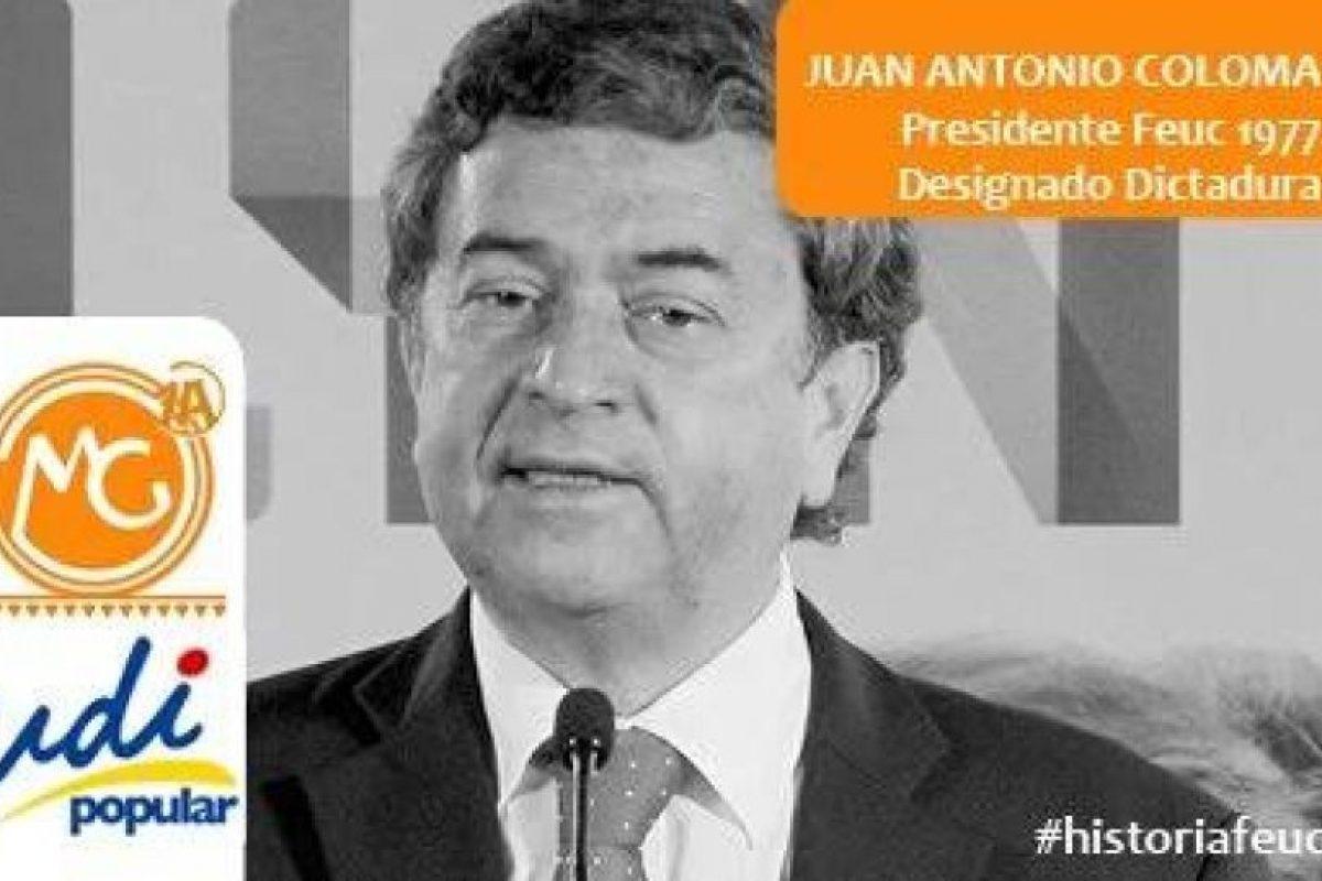 Juan Antonio Coloma, UDI Senador. Presidente Feuc 1977 Foto:Reproducción. Imagen Por: