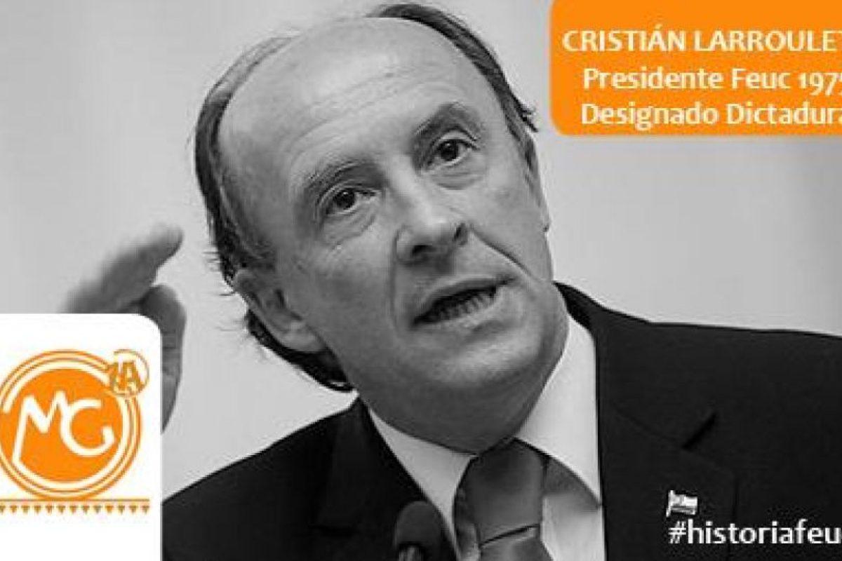 Cristián Larroulet, UDI ex Ministro. Presidente Feuc 1975 Foto:Reproducción. Imagen Por:
