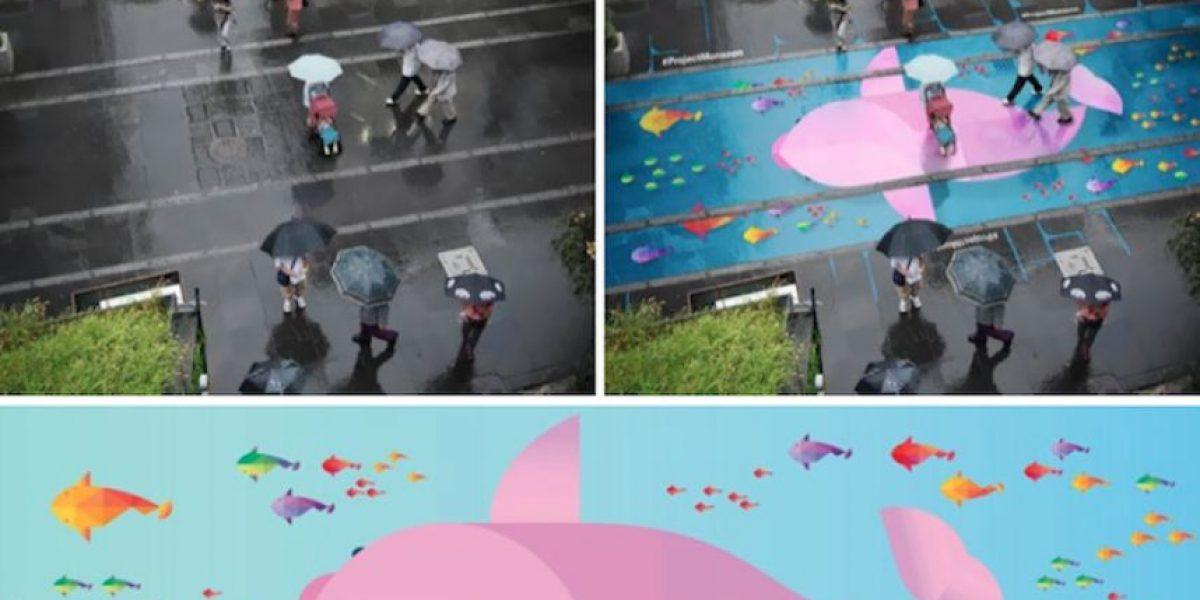 ¡Asombroso! Pinturas son visibles sólo cuando llueve en calles de Seúl