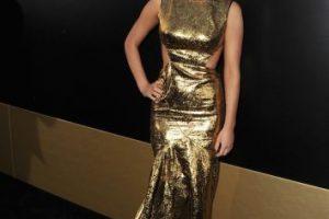 """Durante el estreno de """"Los Juegos del Hambre"""", la actriz lució este vestido dorado. Foto:Getty Images. Imagen Por:"""