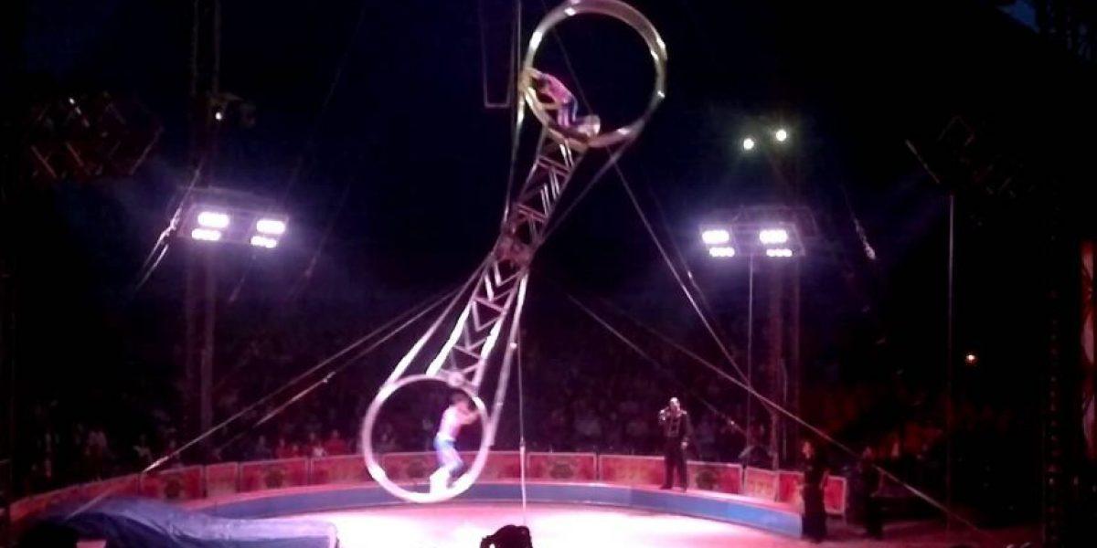 Registran brutal caída de acróbata en circo de Santiago