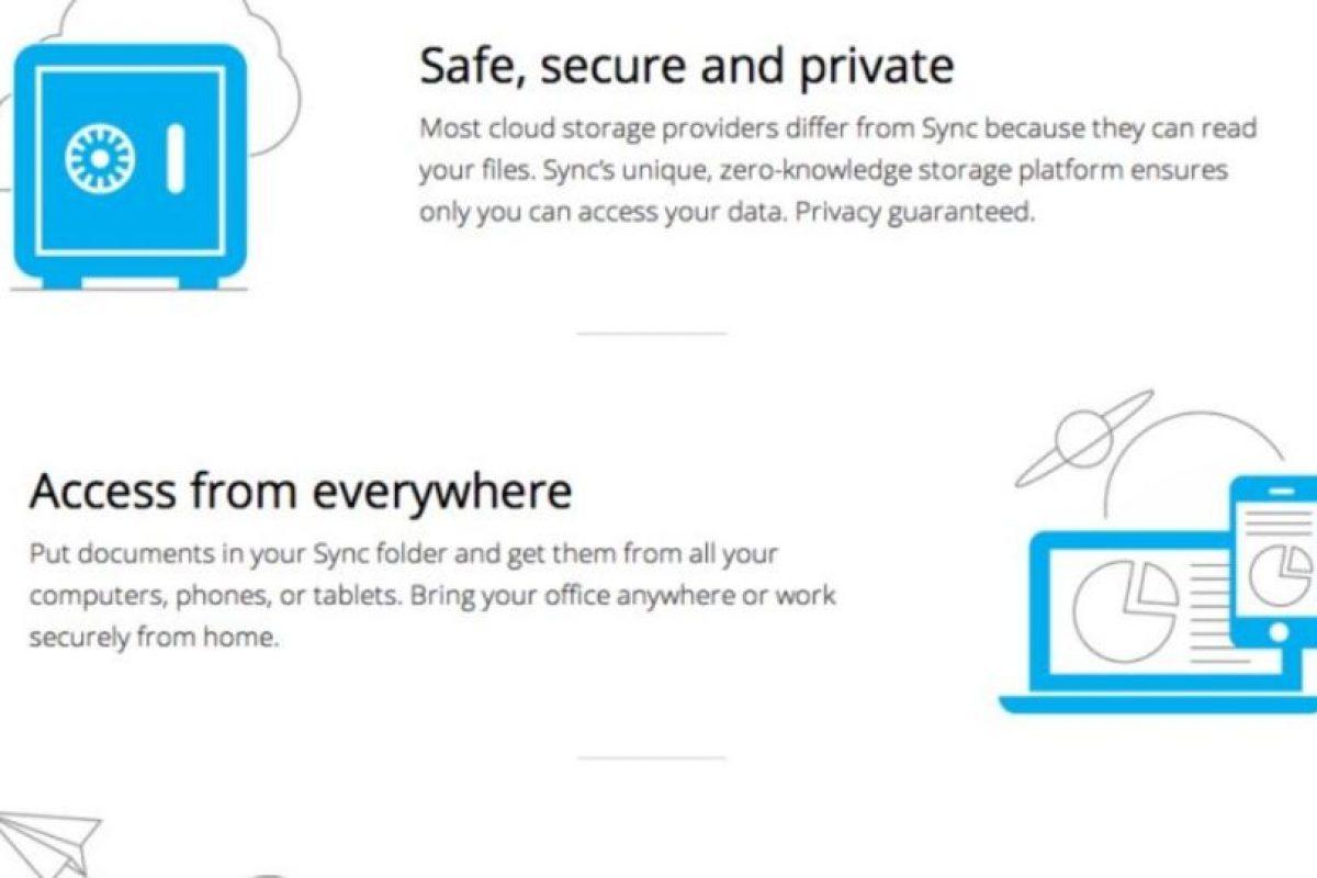 Sync es una buena opción para profesionistas que trabajan online. Foto:vía sync.com. Imagen Por: