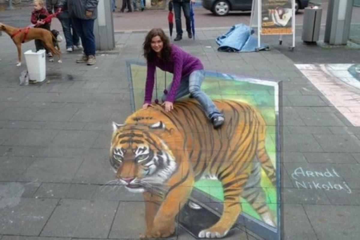 Ella no está montada en un tigre. Foto:Imgur. Imagen Por: