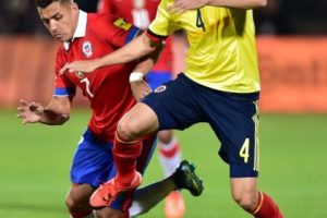 Chile y Colombia igualaron 1-1, en partido de la fecha 3 de la Eliminatoria mundialista de Conmebol Foto:AFP. Imagen Por: